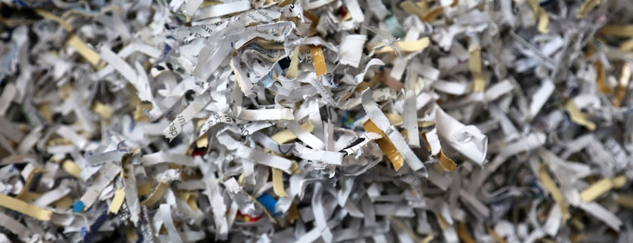 Shredded Sensitive Information. Shredded Secret Documents and information close up.